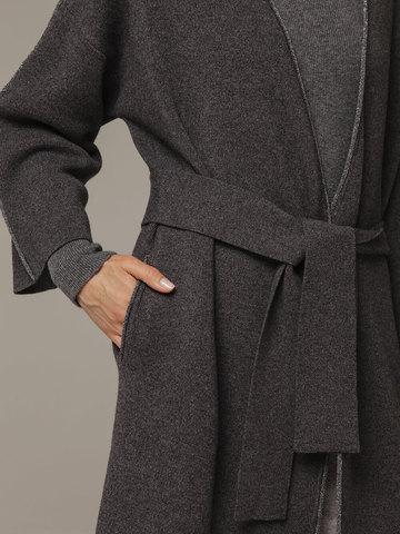 Женский серый кардиган на поясе из шерсти и кашемира - фото 2