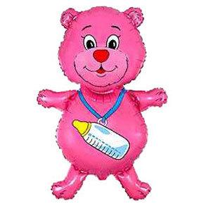 Фольгированный шар Медвежонок с бутылочкой малиновый 92 X 59см