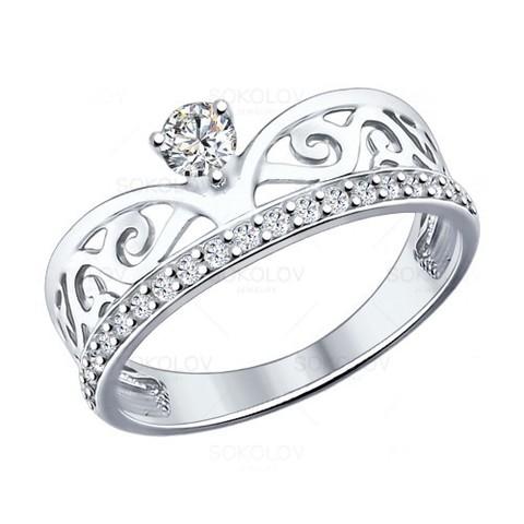 94012036 -Кольцо из серебра с фианитами