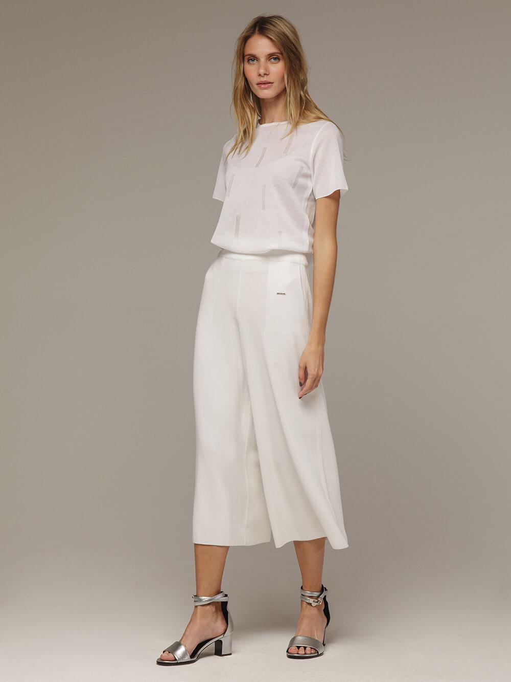 Женские белые свободные брюки из вискозы - фото 1