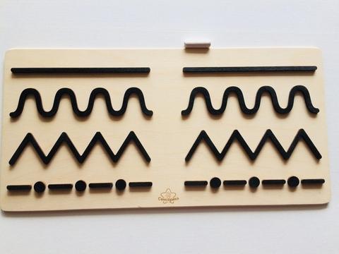 Трафареты графомоторные Линии, для одновременного рисования двумя руками, Сенсорика