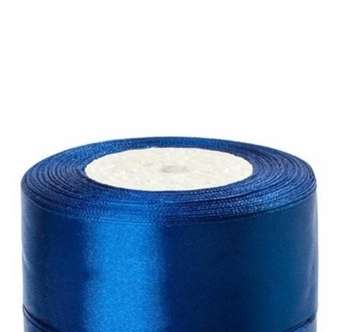 Лента атласная (размер:40мм х 25 ярдов) Цвет:синий