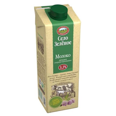 Молоко Село Зеленое питьевое ультрапастеризованное 3.2% 950 г