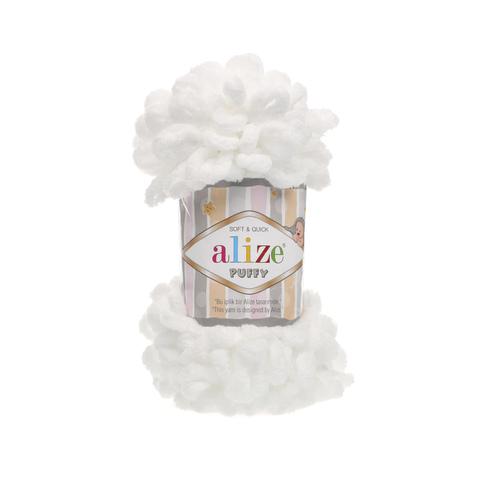 Купить Пряжа Alize Puffy Код цвета 055 Белый | Интернет-магазин пряжи «Пряха»