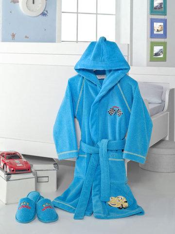 Халат детский махровый для мальчика с тапочками  PILOT ПИЛОТ голубой / Soft Cotton (Турция)