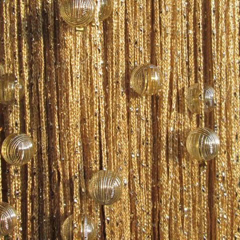 Кисея дождь с шарами - Бежевая. Ш-300см., В-280см. Арт.14