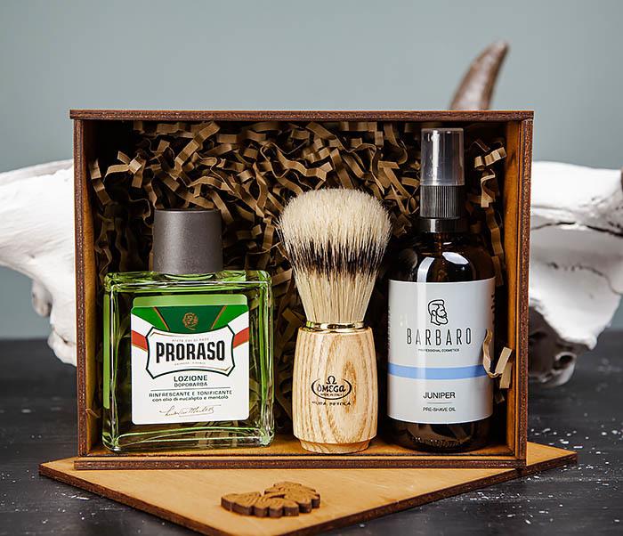 Подарочный набор для бритья: лосьон «PRORASO», масло для бритья и помазок фото 03