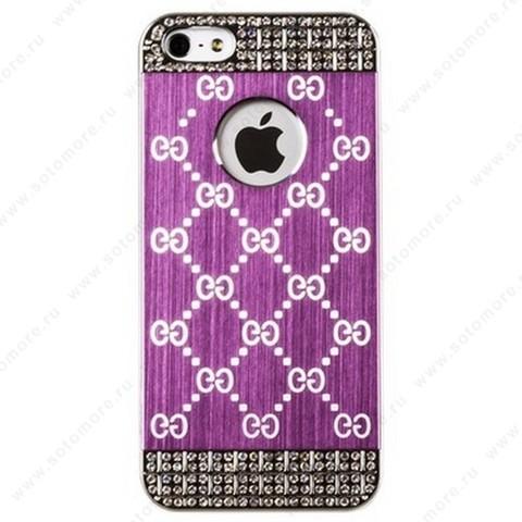 Накладка GUCCI металлическая для iPhone SE/ 5s/ 5C/ 5 серебро розовая