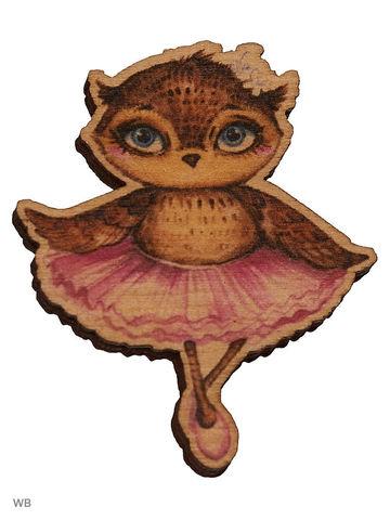 Сова-балерина ( деревянный значок в упаковке)
