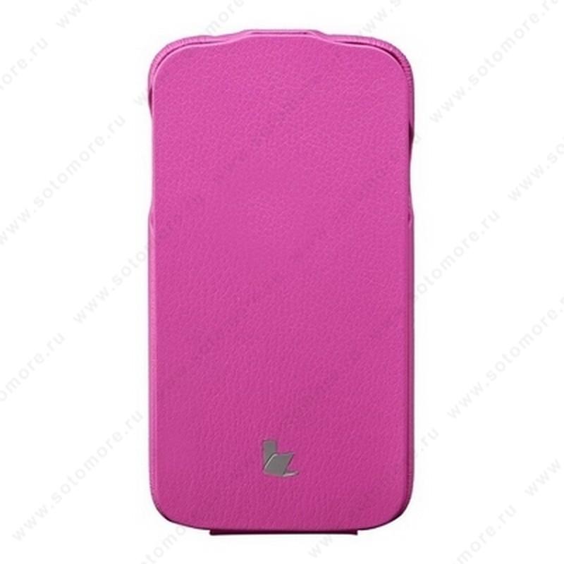 Чехол-флип Jisoncase для Samsung Galaxy S4 i9500/ i9505 ярко-розовый JS-SM4-04H