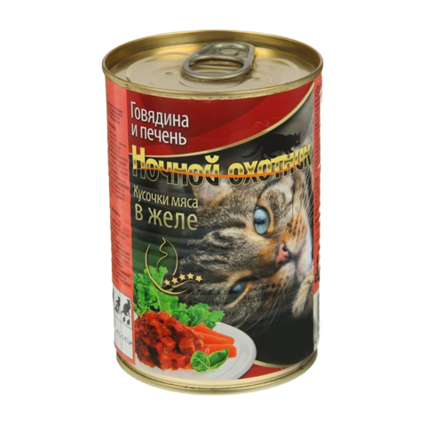 Ночной охотник Консервы для кошек с говядиной и печенью кусочки в желе