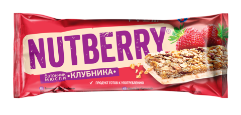 NUTBERRY Батончик мюсли «Клубника» 30г