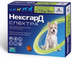Нексгард Спектра антигельминтный для собак от 7,5 до 15 кг, 1 таблетка