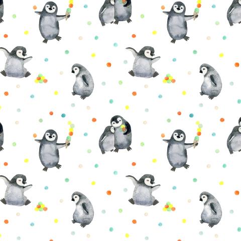 Пингвины и мороженное на белом фоне