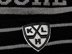 Шапка КХЛ черно-серая с отворотом и помпоном (11565) фото 3
