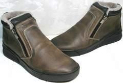 Мужские зимние ботинки без шнурков Rifellini Rovigo 046 Brown Black.