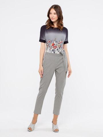 Фото укороченные брюки в мелкую черно-белую полоску - Брюки А484-590 (1)
