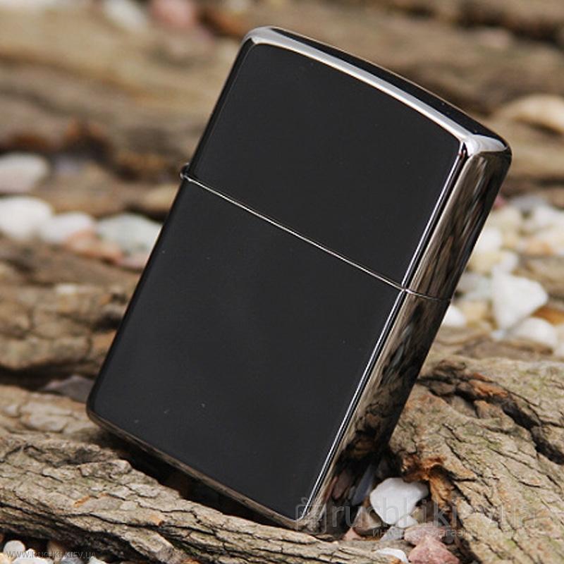 Зажигалка Zippo с покрытием Black Ice, латунь/сталь, чёрная, глянцевая, 36х12х56 мм