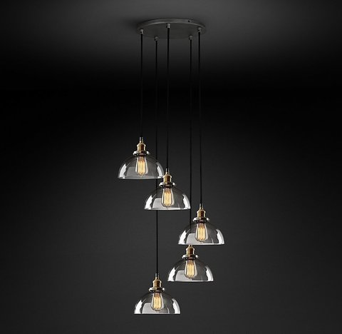 Подвесной светильник копия 20th C. Factory Filament Clear Glass Dome Round  Pendant by Restoration Hardware