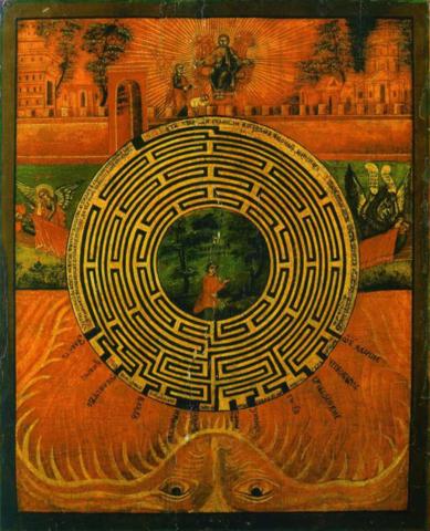 Икона Лабиринт Духовный на дереве на левкасе мастерская Иконный Дом