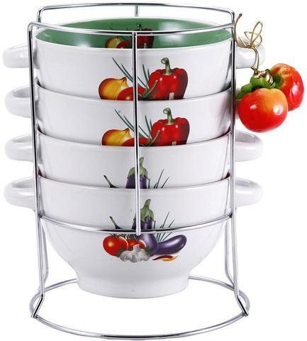 Набор пиал-бульонниц Wellberg Овощи Mix-ІІІ 680 мл на подставке (WB-20706)
