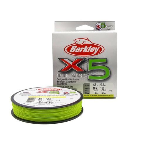 Плетеная леска Berkley X5 150м Ярко-желтая 0,35мм 29,5кг