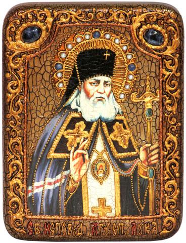 Инкрустированная Икона Святитель Лука Симферопольский, архиепископ Крымский 20х15см на натуральном дереве, в подарочной коробке