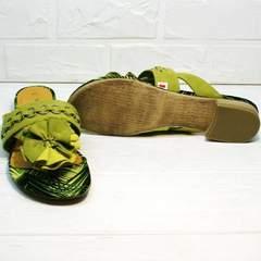 Летние шлепки босоножки женские на низком ходу Marco Tozzi 2-27104-20 Green.