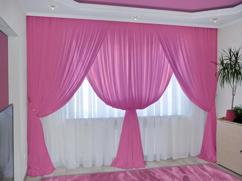 Комплект штор из вуали Клеопатра розово-сиреневый