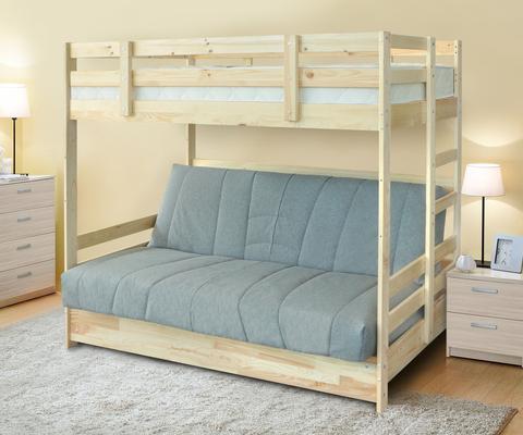 кровать Двухъярусная массив с диван-кроватью
