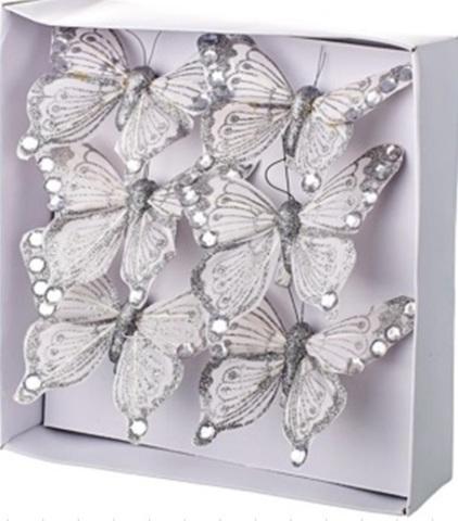 Набор бабочек с глиттером на прищепках 6шт., 6см, серебряный