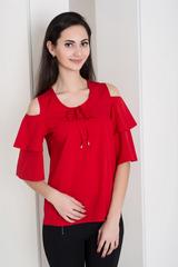 Одри. Молодежная блуза с воланами. Красный
