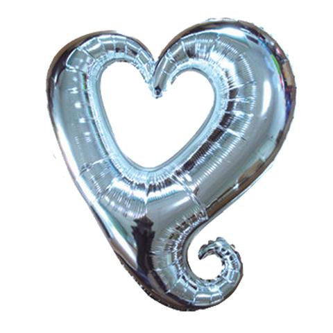 Шар-сердце витое серебро, 91 см