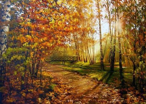 Картина раскраска по номерам 40x50 Наступление осени в лесу