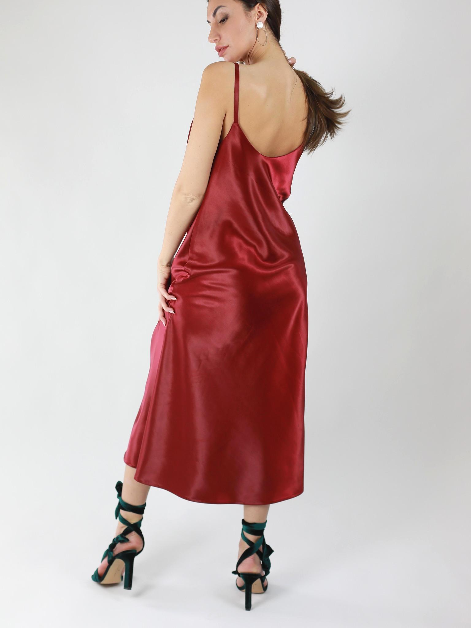 Платье-комбинация из плотного атласа
