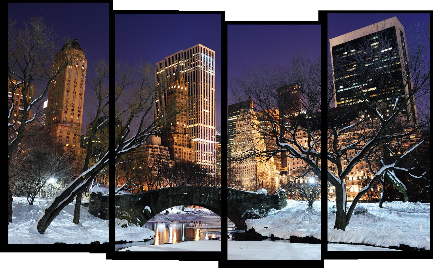 """Города Модульная картина """"Морозы в Нью-Йорке"""" М551.png"""