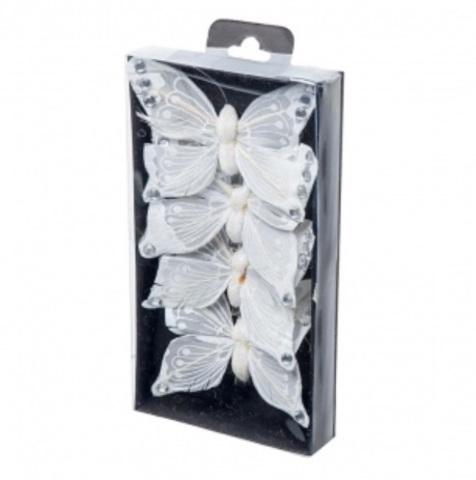 Набор бабочек с глиттером на прищепках 4шт., 10см, цвет: белый