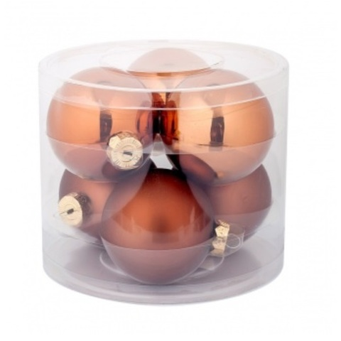 Набор шаров 6шт. в тубе (стекло), D8см, цветовая гамма: коричневые