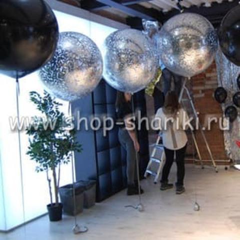 большой шар 90 см с серебряным конфетти с гелием