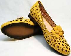 Босоножки кожаные женские летние туфли с перфорацией Phany 103-28 Yellow.