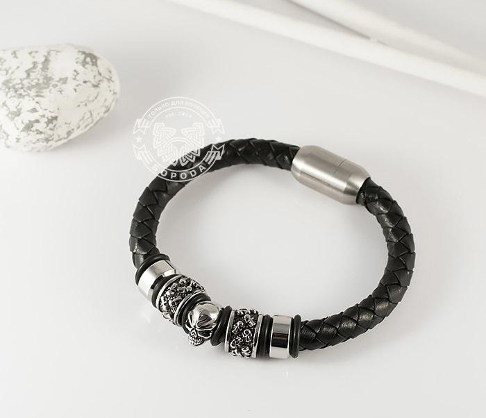 BM373 Мужской браслет с черепом из стали и кожаного шнура, магнитная застежка (21 см) фото 02