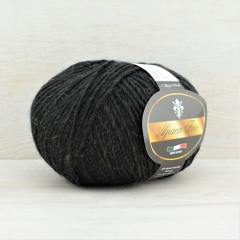 Пряжа Alpaca Fine (Альпака файн)  Черно-серый