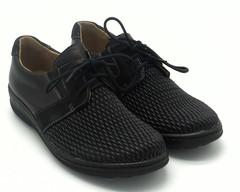 Полуботинки черные на шнуровке с перфорацией