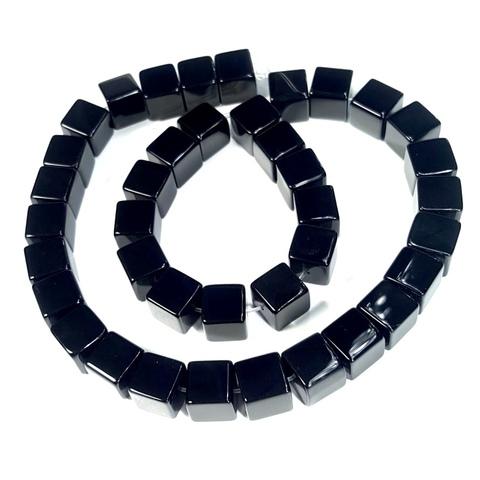 Бусины оникс черный Куб 10 мм 1 бусина