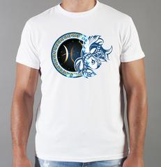 Футболка с принтом Знаки Зодиака, Рыбы (Гороскоп, horoscope) белая 0059
