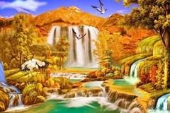 Алмазная Мозаика 30x40 Птицы у водопада