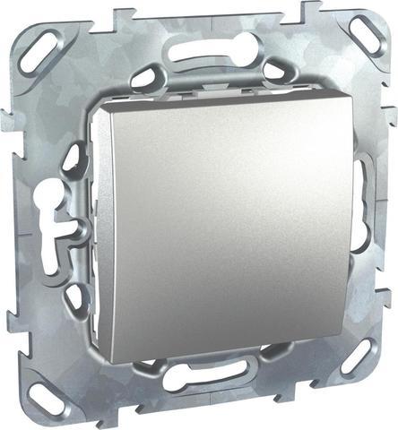 Выключатель одноклавишный промежуточный - Перекрестный переключатель. Цвет Алюминий. Schneider electric Unica Top. MGU5.205.30ZD