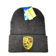Вязаная шапка с вышитым логотипом Порше (Porsche) серая