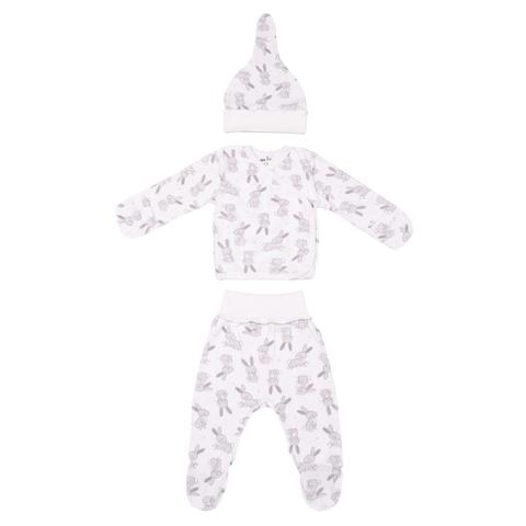 Mini Fox. Комплект для новорожденных 3 предмета, зайцы серые