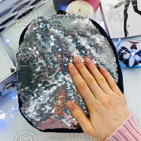 Рюкзачок Детский плюшевый чёрный с пайетками меняет цвет Зеркальный-серебристый и брелок-ключница Пёся